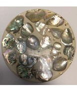 Vintage 1960s Clear W/Tons Of Abalone Shells In Resin Trivet Hot Plate 5... - $19.79