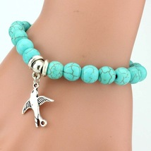TokoBuSri- Vintage Boho Charm Bracelets Women Natural Stone Turquoise FL... - £5.31 GBP