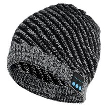 Stylish Bluetooth V3.0 Woven Acrylic Fiber Warm Music Hat - Black + Grey - $26.42