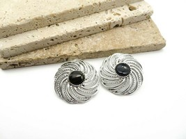 Vintage Sarah Coventry Chunky Silver Black Swirl Clip On Earrings E63 - $18.99