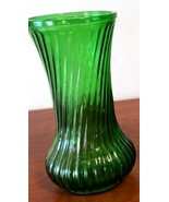 "Vintage Hoosier Green Ribbed Swirl Glass Vase 4090 9 3/4"" - $21.78"