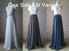 Chiffon Bridesmaid Maxi Skirt High Waist Chiffon Maxi Skirt Teal blue Plus Size image 11