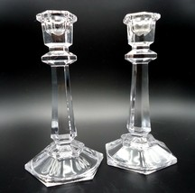 Set 2 Candlestick Holders Crystal Clear Glass Hexagonal Design 7 inches ... - $18.69