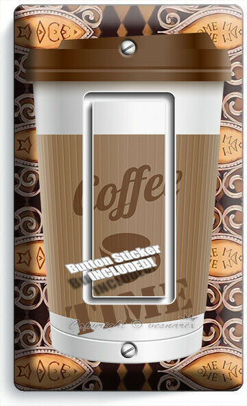 COFFEE TIME PAPER CUP LIGHT SWITCH OUTLET PLATE ROOM KITCHEN CAFE SHOP ART DECOR image 3