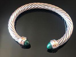 David Yurman Sterling Silver & 18k Gold MALACHITE 7mm Cable Classic Bracelet - $449.99