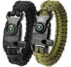 Protection Paracord Bracelet Survival Gear Kit with Embedded Compass Cam... - $13.95