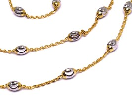 """18K ROSE & WHITE GOLD ROLO ALTERNATE CHAIN NECKLACE 3mm FACETED OVAL BALLS 16"""" image 2"""