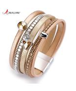Amorcome Multilayer Leather Bracelets for Women Trendy Rhinestone Crysta... - $12.99