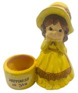 Vintage De Bec Japan Mini Planter Girl Yellow Dress Hat Country Happines... - $14.84