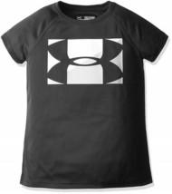 NWT Girls Under Armour Big Logo T-Shirt Heatgear YSM Small Black - $14.85