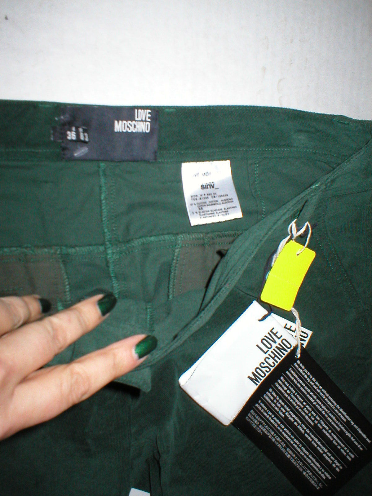 New NWT Womens 4 Dark Designer Love Moschino Green Velvet Pants Corduroy Skinny image 3