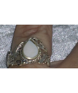 Vintage white stone ring sterling silver size 6.5 leafs Downton Abbey - $35.00