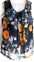 Dressbarn Tank Top Cami Size 3X Black with Yellow, Purple & White Flowers - $32.60