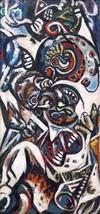 "Jackson Pollock ""BIRTH"" HD print on canvas wall picture 24x12"" - $16.82"