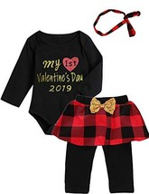 Mutiggee My First Valentine's Day Plaid Outfit Baby Girls Floral Pant Cl... - $22.59