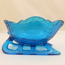 "LARGE 9"" SLEIGH Westmoreland LIGHT BLUE TEAL GLASS Centerpiece Bowl Cand... - $44.77"