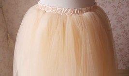 Women Apricot Tutu Skirt Apricot Ballet Tutu Skirt High Waist Midi Tulle Skirt image 3
