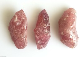 239 CT 3PC NATURAL RUBY ROUGH RAW GLASS FILLED TREATED SPECIMEN ROCK MIN... - $26.99
