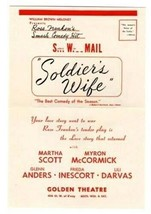 Soldier's Wife Ad Flyer Golden Theatre New York 1944 Rose Franklin Smash... - $13.86