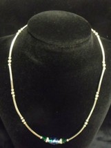 """STERLING TUBE BEAD AND FOIL GLASS BEAD 15 1/2"""" NECKLACE 8.42 GRAMS - $44.55"""