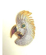 Big Vtg Cockatoo Parrot Pin Bird Cockatiel Austrian Rhinestone Crystal Brooch