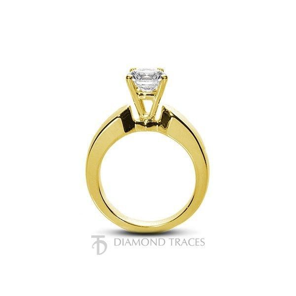 0.82ct G-SI2 Ideal Round Certified Diamond 14k Gold Basket Solitaire Ring 2.9mm