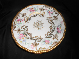 D&Co Delinieres Bernardaud Limoges Heavy Gold Gilt Foral Hand Painted Pl... - $142.50