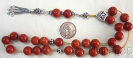 Worry Beads Greek Komboloi Red Sponge Coral & Sterling Silver - $118.80