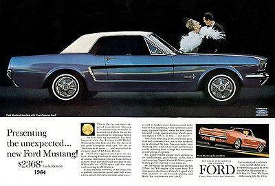 Primary image for 1964 Ford Mustang - Promotional Advertising Poster