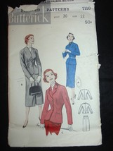 1960's Vintage Butterick Sz 12 B30 Man Tailored Suit Cardigan 7118 - $12.73