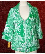 BERER green linen floral 3/4 sleeve zip front jacket L (T49-01F7G) - $24.49