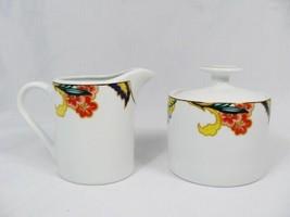 American Atelier Canton Road Creamer & Lidded Sugar Bowl Set Floral Gree... - $24.74