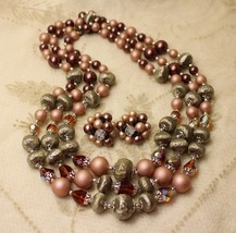 Vintage Chocolate Brown AB Crystal Triple Multistrand Necklace Earrings ... - $39.59