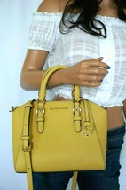 NWT MICHAEL KORS CIARA MEDIUM MESSENGER LEATHER BAG YELLOW DUSTY DAISY - $128.69