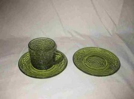 Lot Of 3 Avocado Green Anchor Hocking SORENO Glass Dishes Cup 2 Saucers - $15.44