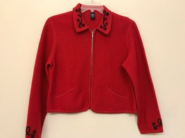 Lands' End Womens Petite 10 Zip-Front Cardigan Sweater Red - $9.89