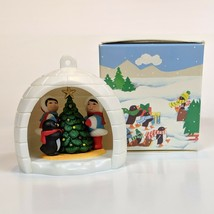 Vintage AVON Winter Fun Christmas Ornament Igloo Penguin Eskimo 1983 - $9.99