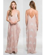 LOVE STITCH Nude Block Hand Printed Cocoon Maxi Dress w/ Pockets Slouchy... - $68.00