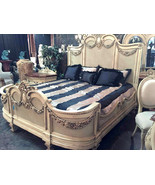 French Country Chic Carved Mahogany Wood Parchment  Queen~King Bed,84''H. - $5,445.00