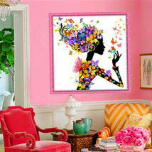 25x25cm 5D Beautiful Girl with Butterfly DIY Diamond Painting Rhinestone... - $17.99