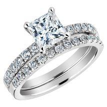 Round & Princess Cut CZ 925 Silver 14k White Gold Plated Bridal Wedding Ring Set - $84.99