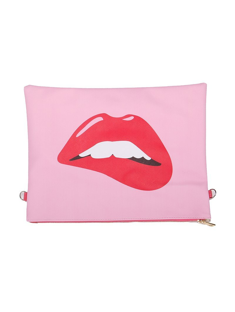Large Vinyl Clutch Bag with Removable Shoulder Strap (Biting Lips)