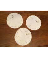 Vintage hand made embroidered Set of 3 doilies  - $10.00