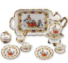 DOLLHOUSE Peter Rabbit Coffee Set/2 Beatrice Potter 57.361/8 Reutter Miniature - $37.08