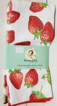 "SET OF 3 SAME JUMBO MICROFIBER KITCHEN TOWELS (16"" x 26"") STRAWBERRIES, SC - $14.84"