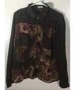 Women's Top Size L Long Sleeve Semi Sheer Jaipur Brown Purple Blouse Bli... - $12.86