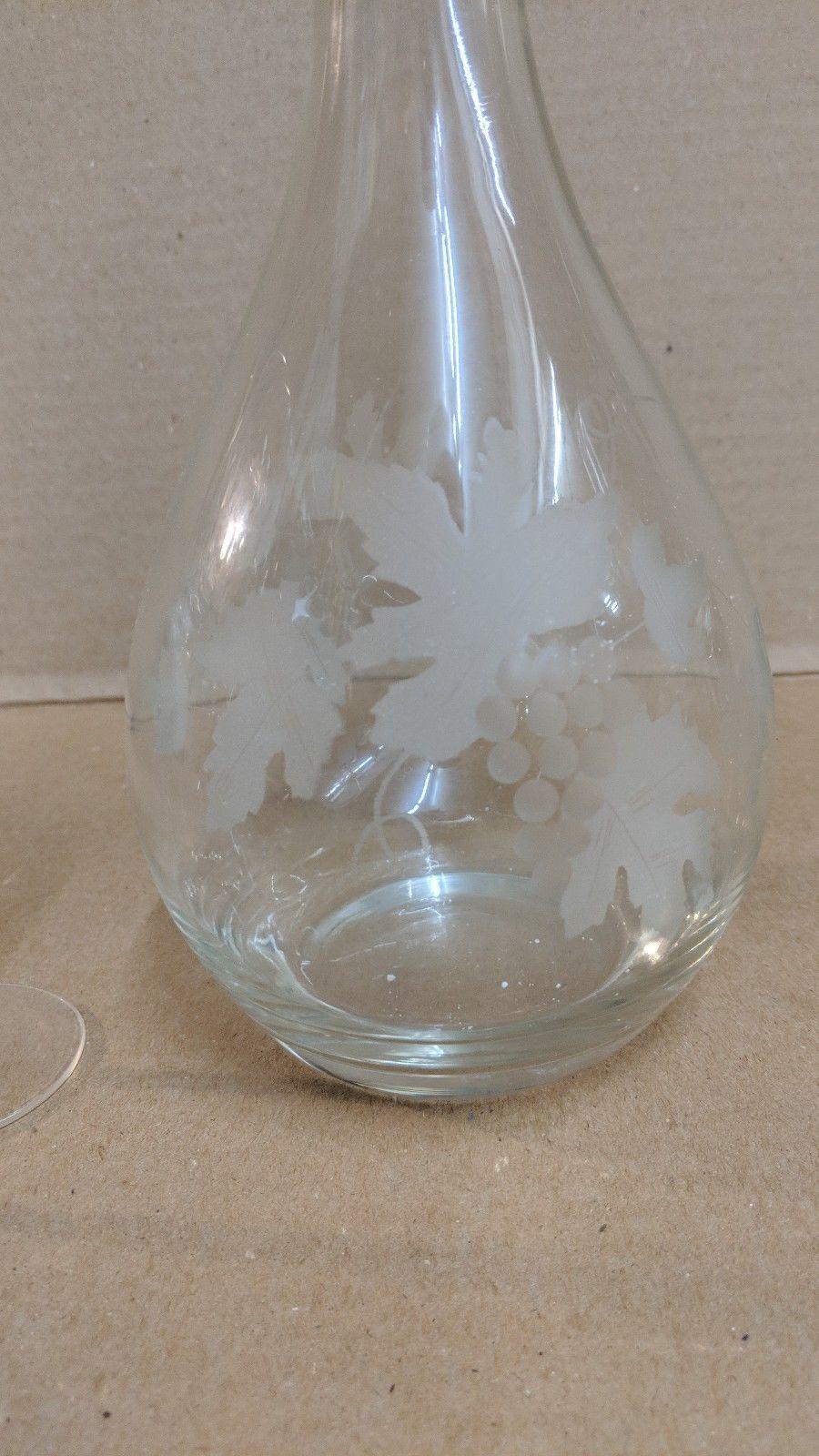 Etched Grape Leaf Design Stemware 6 Glasses and decanter