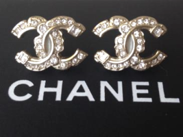 AUTHENTIC CHANEL RARE Large Crystal CC Logo Stud Gold Earrings Classic
