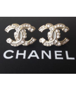 AUTHENTIC CHANEL RARE Large Crystal CC Logo Stud Gold Earrings Classic - $439.99