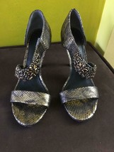 VERA WANG LAVENDER Snakeskin JEWEL Strappy SANDALS Heels 6.5 SPECIAL Occ... - $79.19